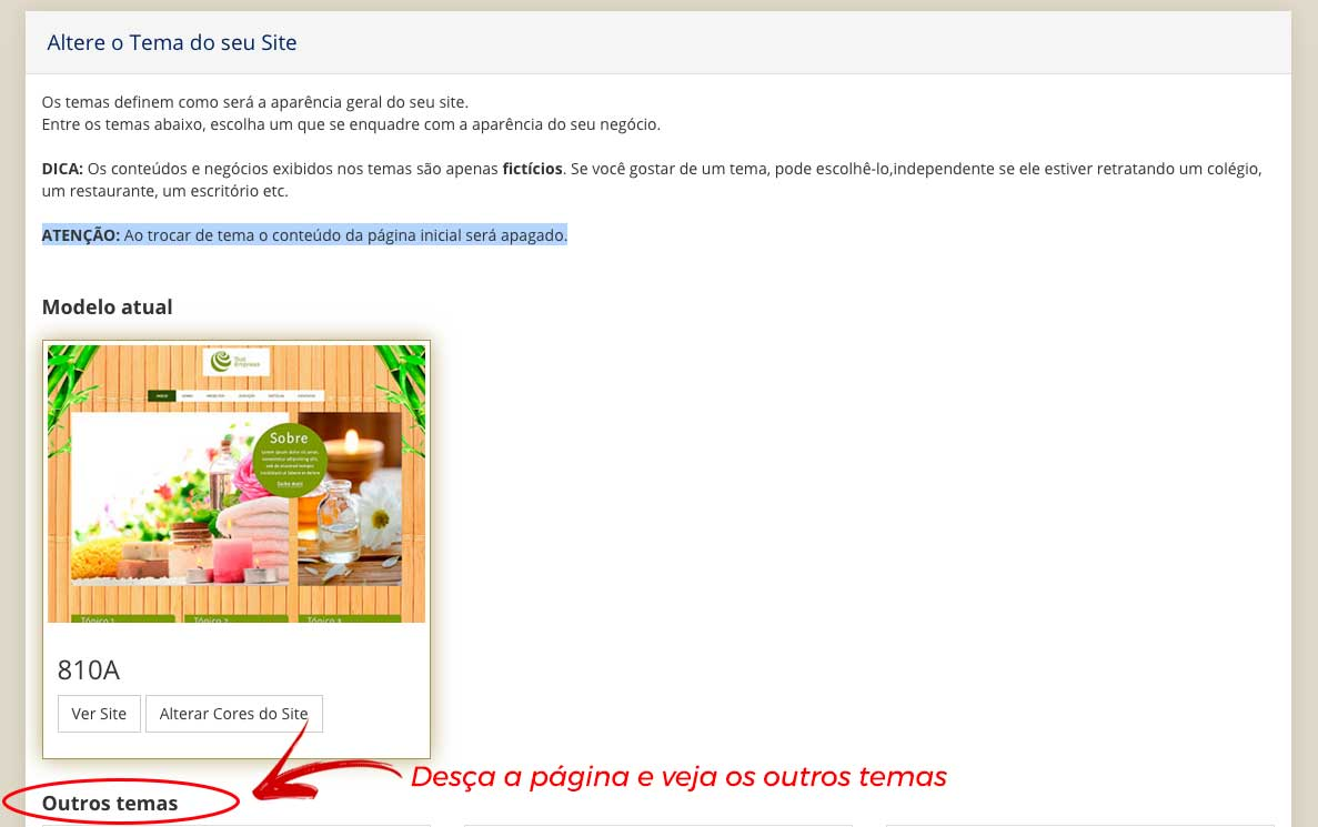 alterar tema do site