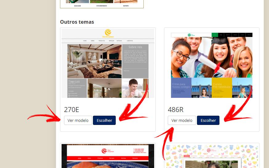 Opções de modelo de site