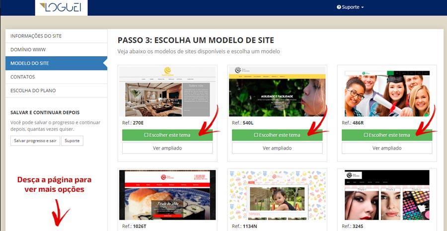 Passo 3 - Escolha o modelo de site pronto