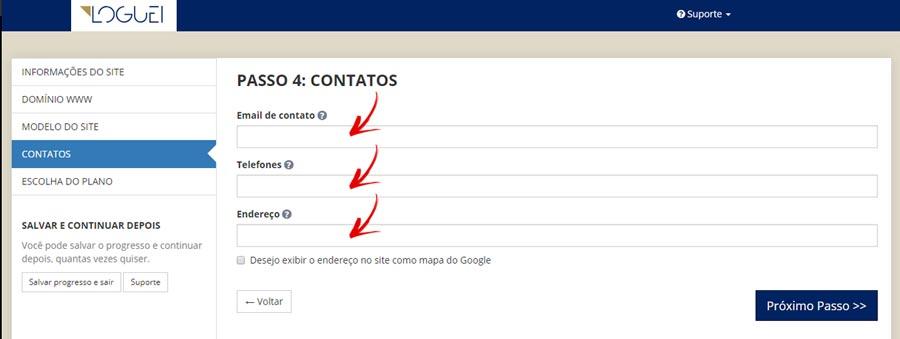 Passo 4 - Preencha suas informações de contato
